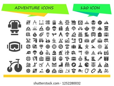 Vector icons pack of 120 filled adventure icons. Simple modern icons about  - Chest, Bike, Diving mask, Flippers, Compass, Trapeze, Woods, Sleeping bag, Snowboard, Roller coaster