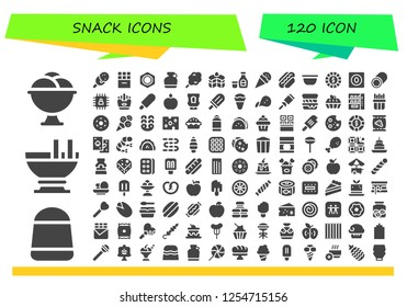 Vector icons pack of 120 filled snack icons. Simple modern icons about  - Ice cream, Candy, Custard, Chocolate, Nut, Canteen, Cotton candy, Cake, Syrup, Hot dog, Bowl, Chip, Marshmallow