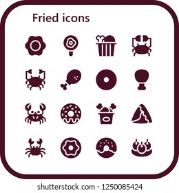 Vector icons pack of 16 filled fried icons. Simple modern icons about  - Fried egg, Chicken, Crab, Chicken leg, Donut, Fried chicken, Samosa, Bitterballen
