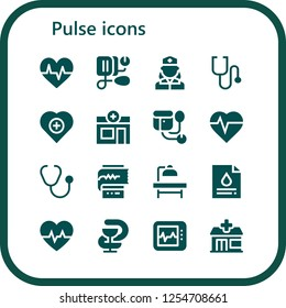 Vector icons pack of 16 filled pulse icons. Simple modern icons about  - Cardiogram, Blood pressure, Nurse, Stethoscope, Health, Pharmacy, Sphygmomanometer, Heartbeat, Operating table