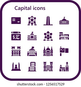 Vector icons pack of 16 filled capital icons. Simple modern icons about  - Cheque, Atomium, Washington, White house, Berlin, Colosseum, Notre dame, Saint paul, China, Democracy monument