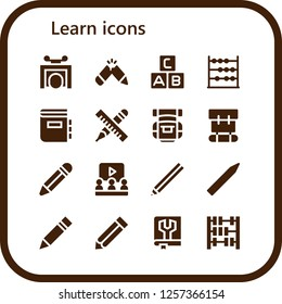 Vector icons pack of 16 filled learn icons. Simple modern icons about  - Trick, Pencil, Abc, Abacus, Dictionary, Backpack, Learning, Manual