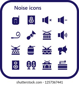 Vector icons pack of 16 filled noise icons. Simple modern icons about  - Baby monitor, Loudspeaker, Volume, Party blower, Horn, Drum, Subwoofer