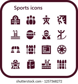 Vector icons pack of 16 filled sports icons. Simple modern icons about  - Casino, Bowling pins, Wingsuit, Climbing, Swimming pool, Ninja, Skiing, Push up, Ski, Spoke wheel, Shin guards