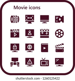 Vector icons pack of 16 filled movie icons. Simple modern icons about  - Lens, Size, Tv, Ticket, Clapper, Television, Stage, Film reel, Video, Clapperboard