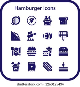 Vector icons pack of 16 filled hamburger icons. Simple modern icons about  - Grill, No fast food, Food, Sandwich, Fry, Salami, Burger, Fast food, Fried chicken, Snack, Hotdog