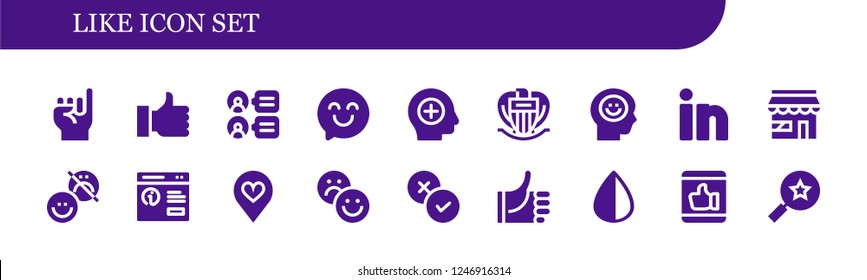 Vector icons pack of 18 filled like icons. Simple modern icons about  - Promise, Thumb up, Comments, Happy, Positive, Nice, Happiness, Linkedin, Market, Pop up, Favorite, Rate