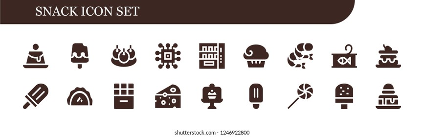 Vector icons pack of 18 filled snack icons. Simple modern icons about  - Creme caramel, Ice cream, Bitterballen, Chip, Vending machine, Muffin, Shrimp, Canned food, Cake, Popsicle