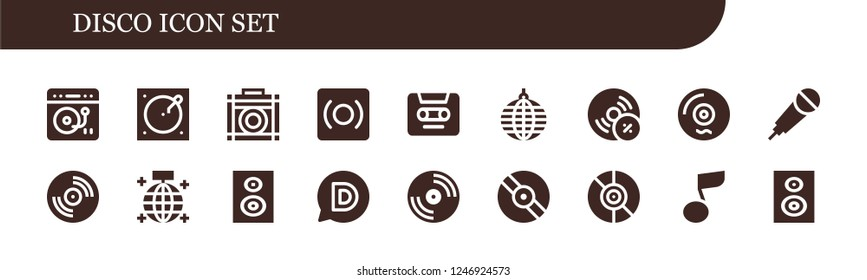 Vector icons pack of 18 filled disco icons. Simple modern icons about  - Turntable, Amplifier, Record, Cassette, Mirror ball, Vynil, Vinyl, Karaoke, Subwoofer, Disqus, Musical note