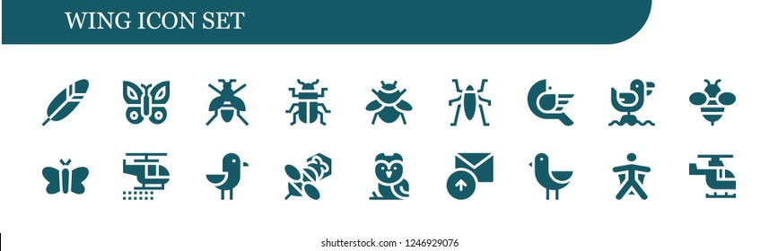 Vector icons pack of 18 filled wing icons. Simple modern icons about  - Feather, Butterfly, Wasp, Beetle, Bumblebee, Insect, Bird, Seagull, Bee, Moth, Helicopter, Owl, Sent, Wingsuit