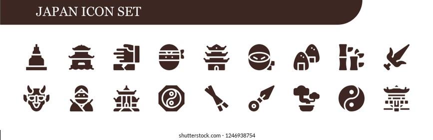 Vector icons pack of 18 filled japan icons. Simple modern icons about  - Temple, Pagoda, Martial arts, Ninja, Onigiri, Bamboo, Hannya, Yin yang, Chopsticks, Kunai, Bonsai