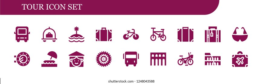 Vector icons pack of 18 filled tour icons. Simple modern icons about  - Bus, Luggage, Island, Travel bag, Bicycle, Porthole, Vietnamese, Segovia, Colosseum