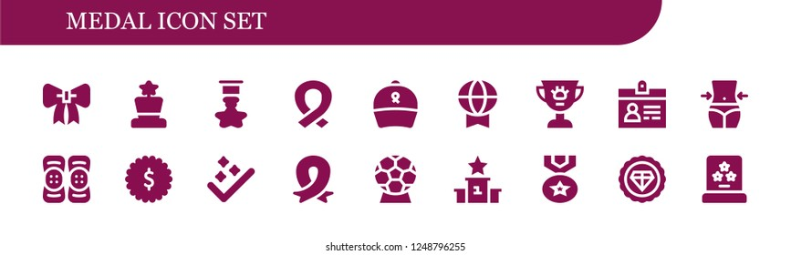 Vector icons pack of 18 filled medal icons. Simple modern icons about  - Ribbon, Award, Badge, Prize, Accreditation, Fitness, Kneepad, Success, Podium, Medal, Premium