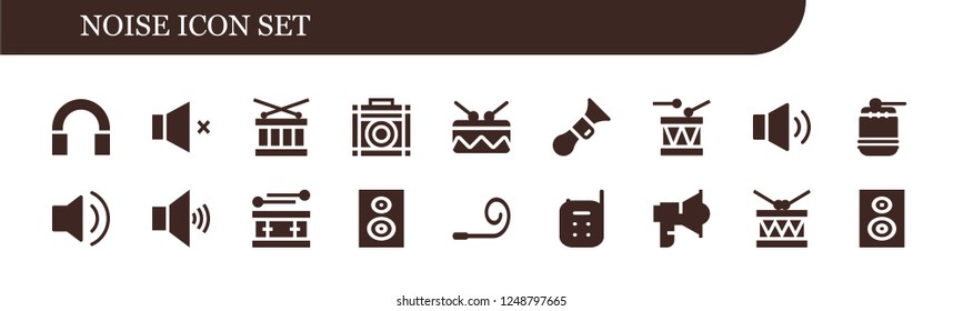 Vector icons pack of 18 filled noise icons. Simple modern icons about  - Audio, Volume, Drum, Amplifier, Horn, Woofer, Party blower, Baby monitor, Loudspeaker, Subwoofer