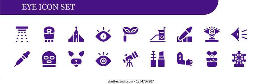 Vector icons pack of 18 filled eye icons. Simple modern icons about  - Smoke detector, Sarcophagus, Hallgrimskirkja, Eye, Eye mask, Vigilance, Eyedropper, Eye scan, Pipette, Balaclava