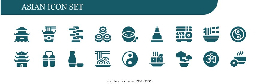 Vector icons pack of 18 filled asian icons. Simple modern icons about  - Pagoda, Noodles, Wing chun, Sushi, Ninja, Temple, Noodle, Yin yang, Nunchaku, Sake, Spaghetti, Tofu, Bonsai