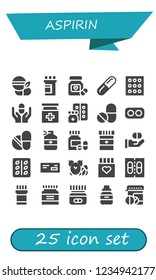 Vector icons pack of 25 filled aspirin icons. Simple modern icons about  - Medicine, Pills, Pill, Drugs, Drug