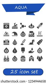 Vector icons pack of 25 filled aqua icons. Simple modern icons about  - Blood, Swimming, Droplet, Fishbone, Swim, Wave, Drop, Ink, Sea lion, Plastic bottle, Water dispenser, Inks, Hermit crab