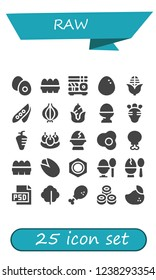 Vector icons pack of 25 filled raw icons. Simple modern icons about  - Boiled egg, Eggs, Sushi, Egg, Corn, Pea, Onion, Radish, Carrot, Bitterballen, Chicken leg, Pistachio, Nut, Psd, Lettuce