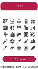Vector icons pack of 25 filled gun icons. Simple modern icons about  - Pistol, Cowboy, Belly piercing, Death penalty, Nunchaku, Painting, Weapon, Pirate, Tank, Police line, Airbrush