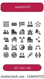 Vector icons pack of 25 filled harmony icons. Simple modern icons about  - Friends, Rainbow, Piano, Zen, Buddha, Yin yang, Fragance, Diapason, Cooperation