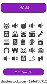 Vector icons pack of 25 filled noise icons. Simple modern icons about  - Drum, Volume, Baby monitor, Subwoofer, Horn, Woofer, Ear, Audio, Loudspeaker, Party blower