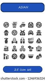 Vector icons pack of 25 filled asian icons. Simple modern icons about  - Yin yang, Noodles, Bowl, Arab woman, Geisha, Kamon, Kendo, Dumpling, Pagoda, Cheongsam, Martial arts, Nunchaku