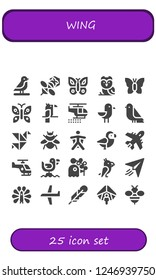 Vector icons pack of 25 filled wing icons. Simple modern icons about  - Bird, Bee, Butterfly, Owl, Parrot, Helicopter, Seagull, Origami, Bumblebee, Wingsuit, Plane, Pigeon, Paper plane