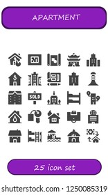 Vector icons pack of 25 filled apartment icons. Simple modern icons about  - House, Blueprint, Building, Apartments, Sold, Skyscrapper, Bunk bed, Hotel key, Area, Bungalow, Hut