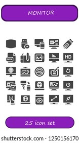 Vector icons pack of 25 filled monitor icons. Simple modern icons about  - Screen, Pendrive, Responsive, Computer, Cmyk, Graphic tablet, Electrocardiogram, Television, Voltmeter