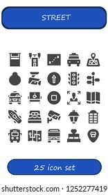 Vector icons pack of 25 filled street icons. Simple modern icons about  - Bed, Semaphore, Map, Taxi, Location pin, Location, Cctv, Traffic signal, Traffic light, Signpost, Disabled
