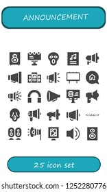 Vector icons pack of 25 filled announcement icons. Simple modern icons about  - Loudspeaker, Billboard, Scream, Poster, Megaphone, Advertising, Audio, Protest, Voice message, Subwoofer