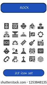 Vector icons pack of 25 filled rock icons. Simple modern icons about  - Subwoofer, Turntable, Punk, Iceberg, DJ, Eruption, Mountain, Music store, Tambourine, Record, Sugar, Guitar