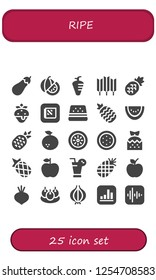 Vector icons pack of 25 filled ripe icons. Simple modern icons about  - Eggplant, Watermelon, Carrot, Wheat, Pineapple, Strawberry, Apple, Orange, Kiwi, Juice, Beet, Bitterballen