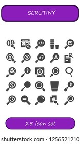 Vector icons pack of 25 filled scrutiny icons. Simple modern icons about  - Search, Glass, Loupe, Zoom, Magnifying glass, Zoom out, Research