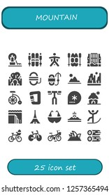 Vector icons pack of 25 filled mountain icons. Simple modern icons about  - Landscape, Ski, Wingsuit, Waterfall, Cave, Rope, Mountain, Canyon, Bike, Carabiner, Handlebar, Winter