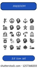 Vector icons pack of 25 filled freedom icons. Simple modern icons about  - Parrot, Peace, Faith, Motivation, Mind, Scale, Wingsuit, Bird cage, Dove, Kite, Marijuana