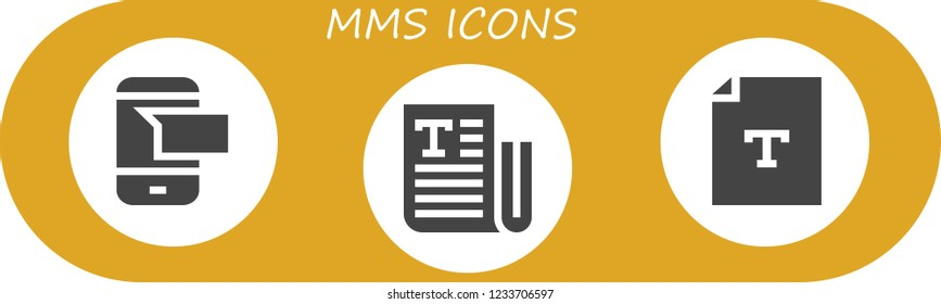 Vector icons pack of 3 filled mms icons. Simple modern icons about  - Sms, Text
