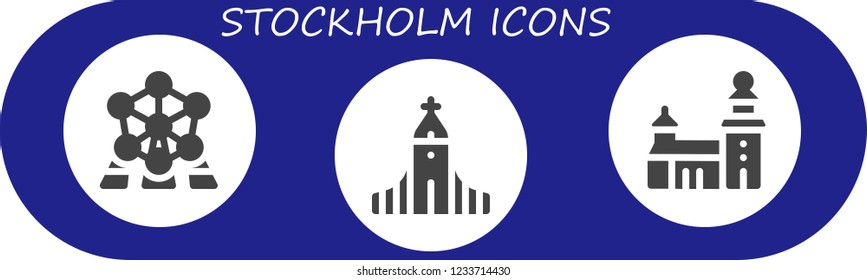 Vector icons pack of 3 filled stockholm icons. Simple modern icons about  - Atomium, Hallgrimskirkja, Stockholm