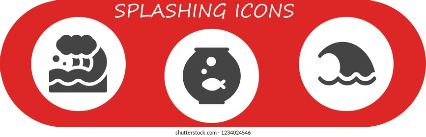 Vector icons pack of 3 filled splashing icons. Simple modern icons about  - Wave, Fishbowl