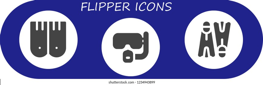 Vector icons pack of 3 filled flipper icons. Simple modern icons about  - Flippers, Dive