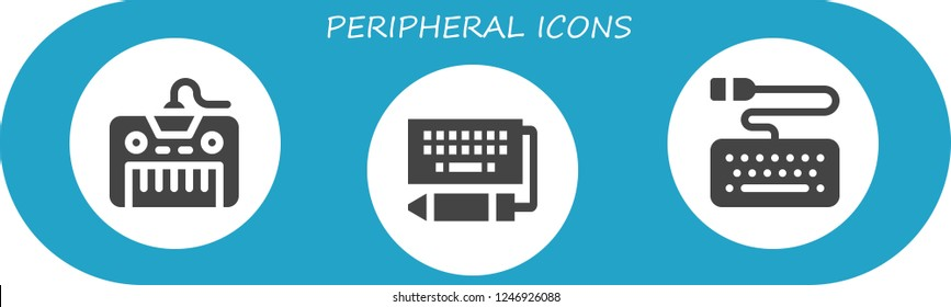 Vector icons pack of 3 filled peripheral icons. Simple modern icons about  - Keyboard