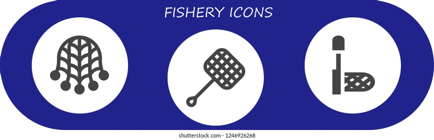 Vector icons pack of 3 filled fishery icons. Simple modern icons about  - Net