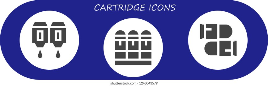 Vector icons pack of 3 filled cartridge icons. Simple modern icons about  - Cartridge, Bullets