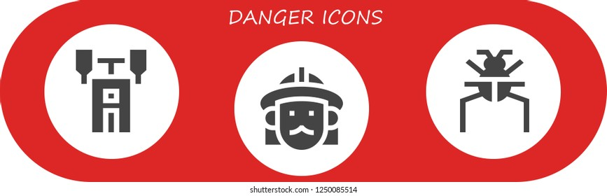 Vector icons pack of 3 filled danger icons. Simple modern icons about  - Semaphore, Firefighter, Parasite