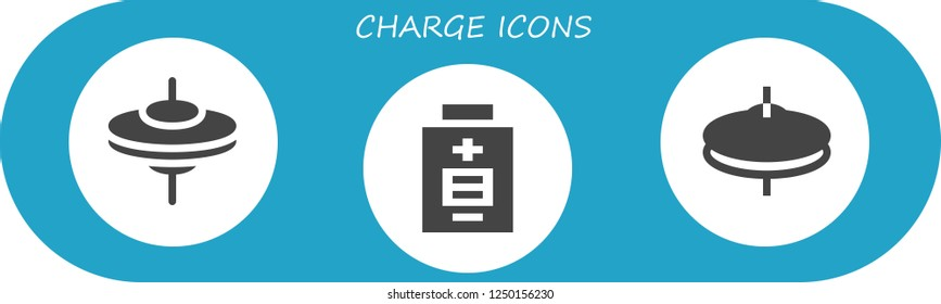 Vector icons pack of 3 filled charge icons. Simple modern icons about  - Cymbals, Battery