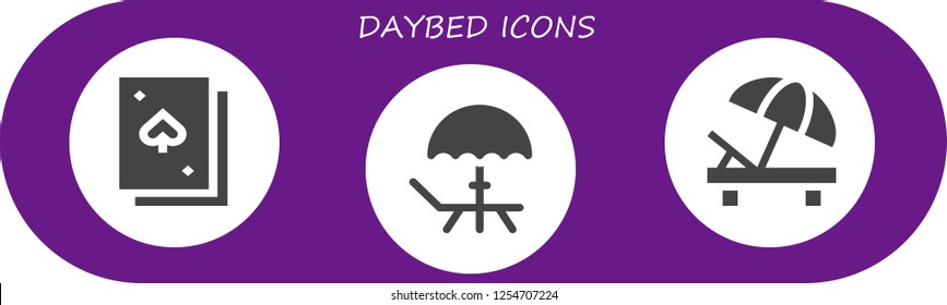 Vector icons pack of 3 filled daybed icons. Simple modern icons about  - Deck, Sunbed