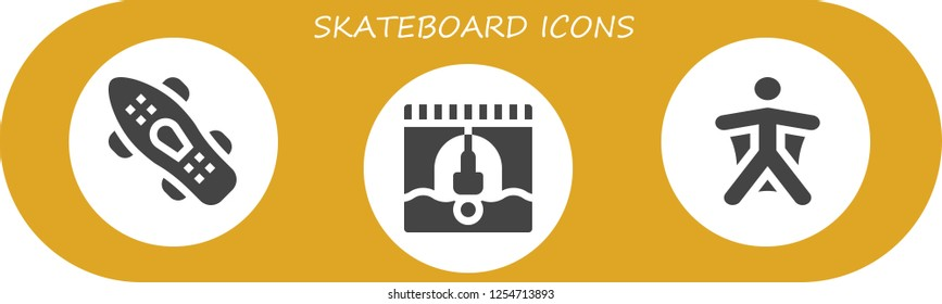 Vector icons pack of 3 filled skateboard icons. Simple modern icons about  - Skateboard, Bungee jumping, Wingsuit