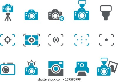 Vector icons pack - Blue Series, cameras collection