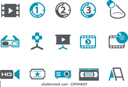 Vector icons pack - Blue Series, cinema collection